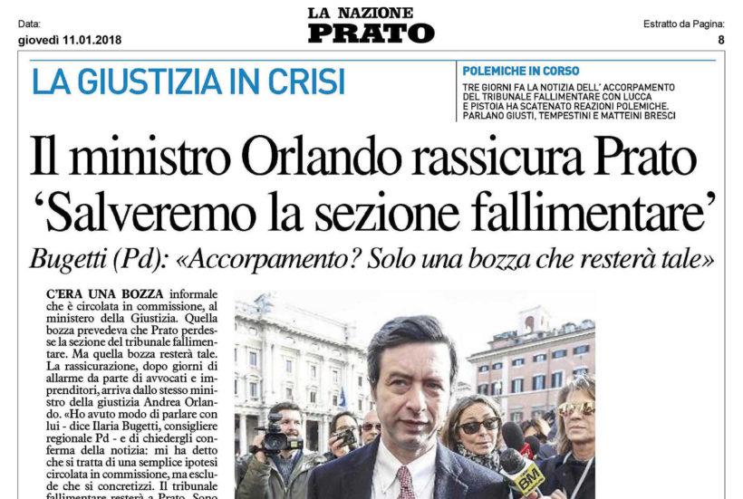 """Accorpamento Sezione Fallimentare – Bugetti """"Tramontata l'ipotesi accorpamento con Lucca"""""""