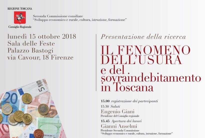 """15.10.2018 – Presentazione ricerca """"Il fenomeno dell'usura e del sovraindebitamento in Toscana"""""""