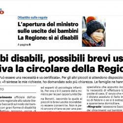 Bimbi disabili, possibili brevi uscite. Arriva circolare della Regione.